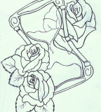 Hourglass and Rose Sketch Design for Tattoo