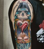 Hourglass with Skull and Blue Rose Tattoo Design
