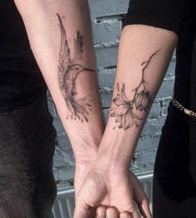 hummingbird and flower couple tattoo