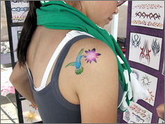 Cute Blue Hummingbrid Tattoo Design on Shoulder