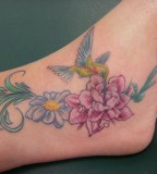 Flower and Hummingbird Tattoos Design on Foot