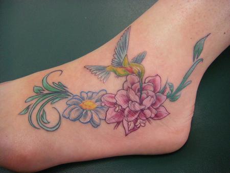 Flower and Hummingbird Tattoos Design on Foot