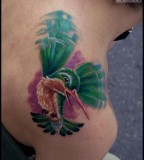 Green Hummingbird Tattoo Design for Women