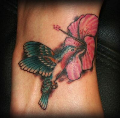 Hummingbird And Hibiscus Flower Tattoo Design On Foot