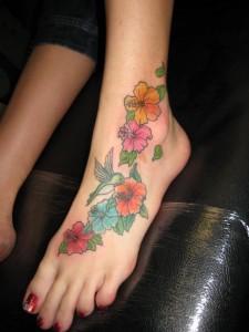 Hummingbird Flower Foot Tattoo Design for Women