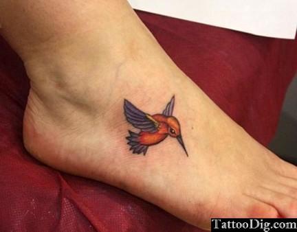 Hummingbird Foot Tattoo Design