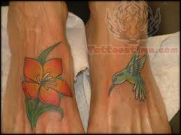 Hummingbird and Flower Tattoos Design on Feet