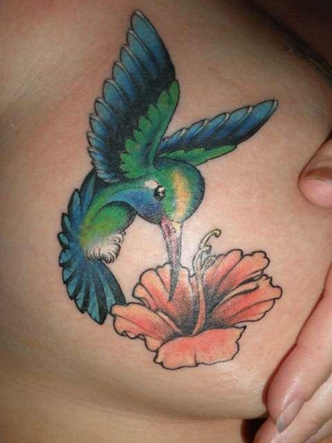 Gree Hummingbird and Flower Tattoo Designs