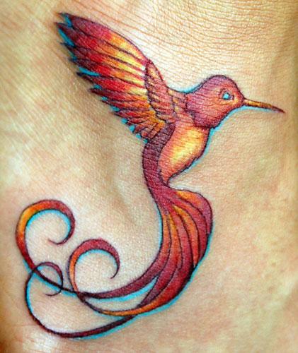 Femine Fiery Hummingbird Tattoo Design