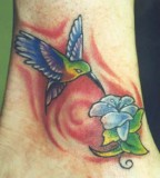 Cute Hummingbird And Flower Tattoo Photo Gallery