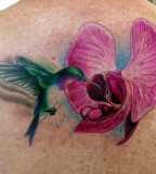 Green Hummingbird  With Pink Flower Tattoos