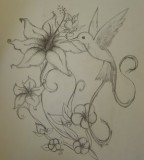 Flowers with Flying Hummingbird Tattoo Design