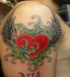 Winged Heart Tattoo Design on Half Sleeve