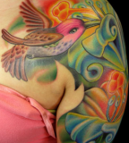 Hummingbird Full Color Tattoo Design