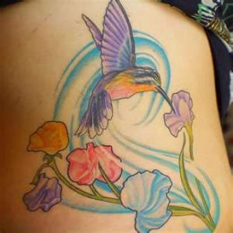Purple Hummingbird Tattoo Design