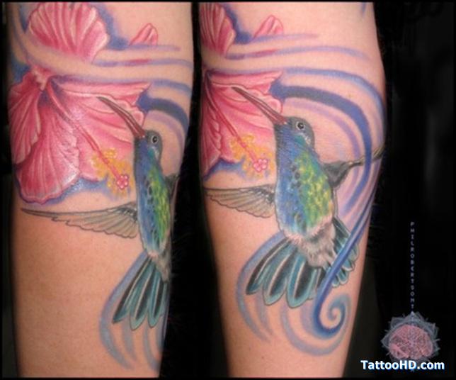 Flying Green Hummingbird Tattoo Design on Legs