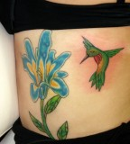 Green Hummingbird Tattoo Design on Stomach