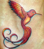 Flying Red Hummingbird Tattoo Design