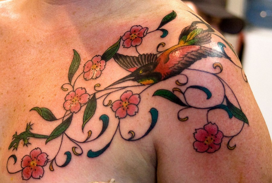 Hummingbird and Flowers Tattoo Fantastic Design