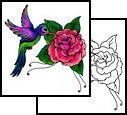 Purple and Green Hummingbird Tattoo Design