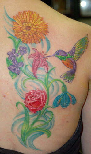 Hummingbird and Cherry Blossom Tattoo Design Ideas