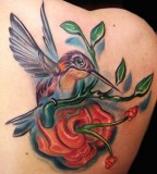 Hummingbird with Red FLower Tattoo Design