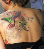 Great Flying Hummingbird Tattoo Design on Back
