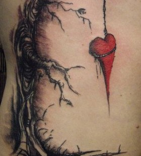 hung heart tattoos for women