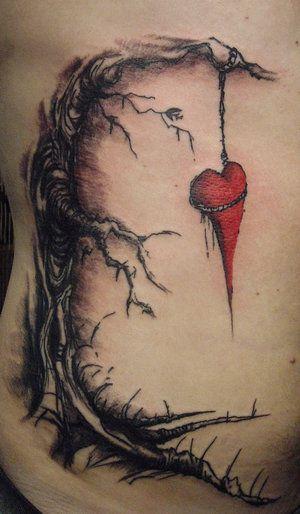 hung heart tattoos for women