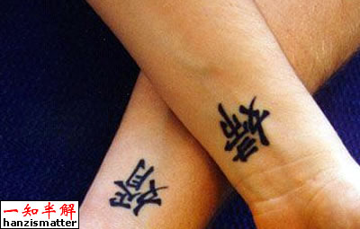 Simple Kanji Tattoo For Couples On Wirst