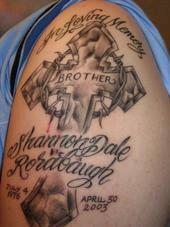 Full on Arm In Loving Memory Cross Tattoo Design Pic