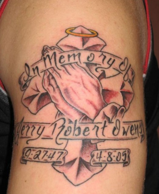 Stunning In Loving Memory Memorial Rip Tattoo Design Photo