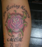 In Loving Memory Of Mom Pink Rose Tattoo Design Picture