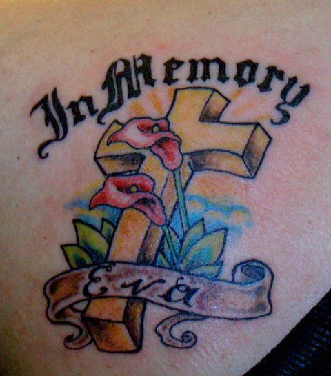 Eva In Loving Memory Cross Tattoo Picture