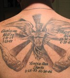 Full Memorial Angel in Loving Memory Tattoo on Back