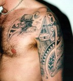 Arm Chest And Shoulder Tribal And Indian Tattoo
