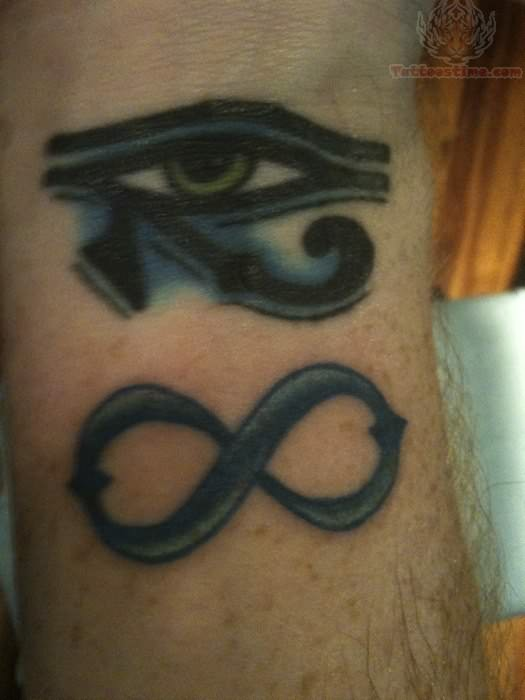 Beautiful Infinity Symbol And Eye Sign Tattoo Design on Wrist