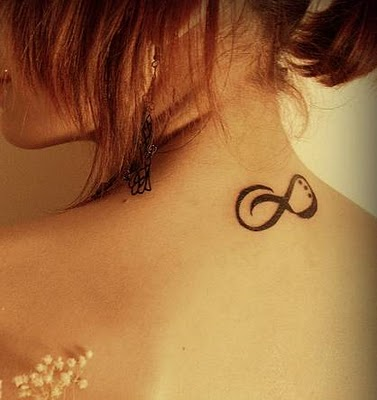 Wonderful Neck Infinity Sign Tattoo Design Picture