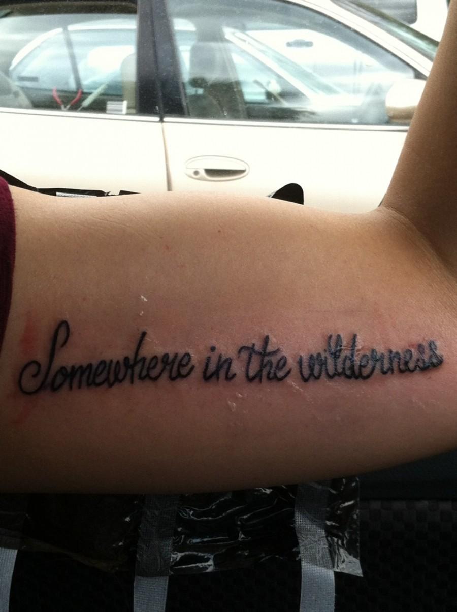 Lettering Inner Bicep Tattoo Design