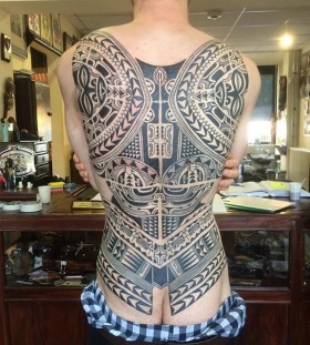 intricate full back tribal tattoo
