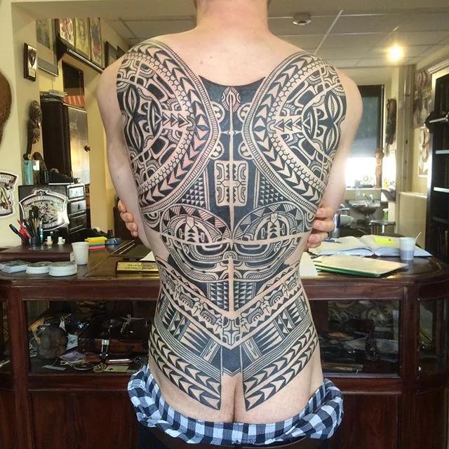 intricate full back tribal tattoo