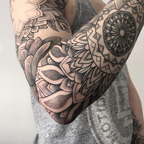 intricate mandala sleeve tattoo