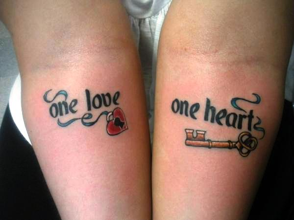 Cute Gold Key Tattoos Couples Design for Men