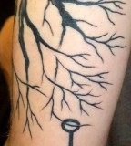 Black Tree with Key Tattoos Design for Men