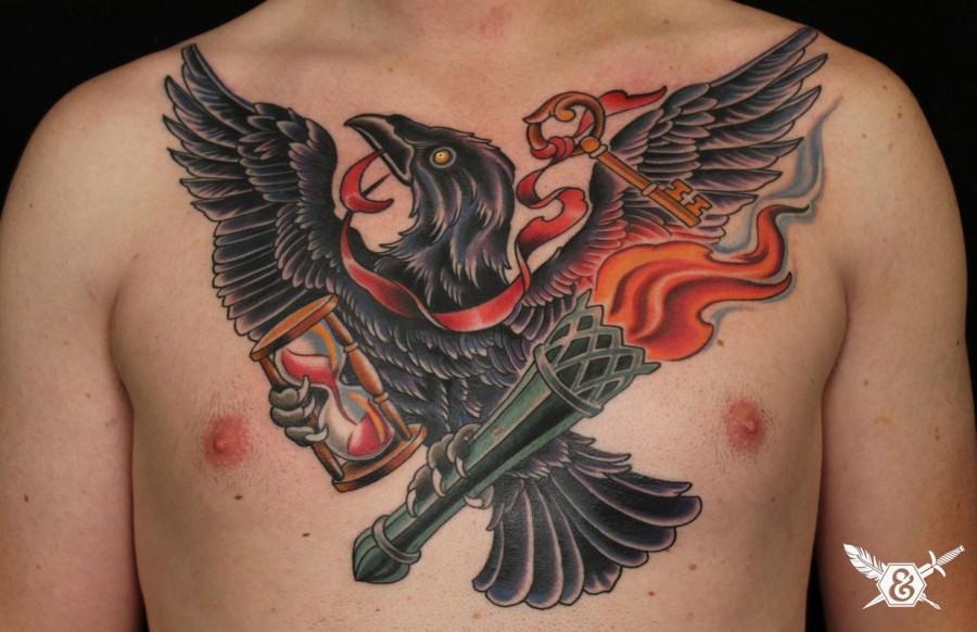 Wonderful Crow with Gold Key Tattoos for Men