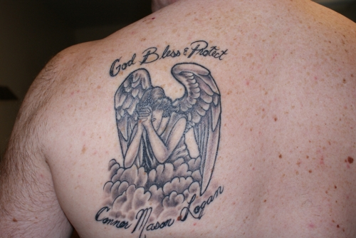 Guardian Angel with Kids Name Tattoo Design