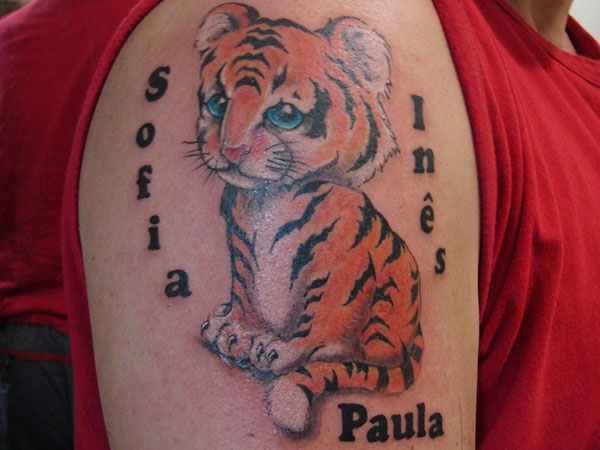 Tiger and Kids Name Tattoo Design Pic