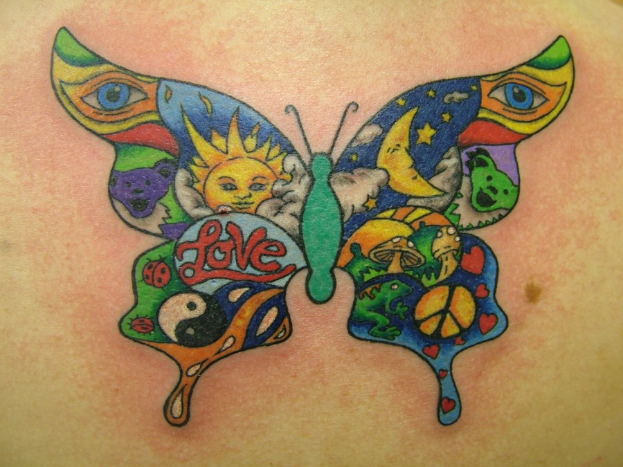 Beautiful Butterfly Kids Name Tattoo Design