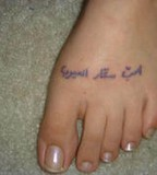 Kids Name Mom Tattoo Design on Foot