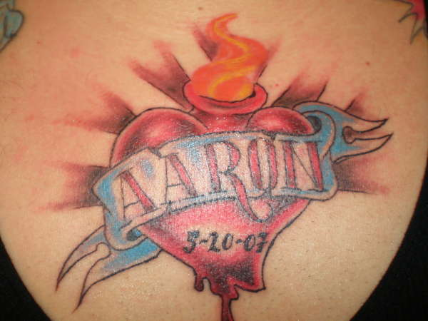 Kids Name with Heart Shaped Tattoo Design